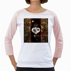 Steampunk, Awesome Heart With Clocks And Gears Girly Raglans