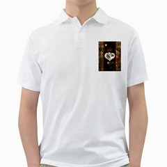 Steampunk, Awesome Heart With Clocks And Gears Golf Shirts