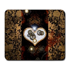 Steampunk, Awesome Heart With Clocks And Gears Large Mousepads