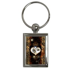 Steampunk, Awesome Heart With Clocks And Gears Key Chains (rectangle)