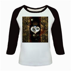 Steampunk, Awesome Heart With Clocks And Gears Kids Baseball Jerseys