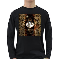 Steampunk, Awesome Heart With Clocks And Gears Long Sleeve Dark T Shirts
