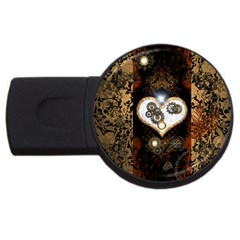 Steampunk, Awesome Heart With Clocks And Gears Usb Flash Drive Round (4 Gb)
