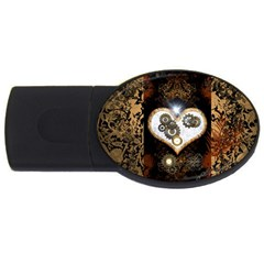 Steampunk, Awesome Heart With Clocks And Gears Usb Flash Drive Oval (4 Gb)
