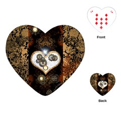 Steampunk, Awesome Heart With Clocks And Gears Playing Cards (Heart)