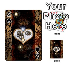 Steampunk, Awesome Heart With Clocks And Gears Playing Cards 54 Designs