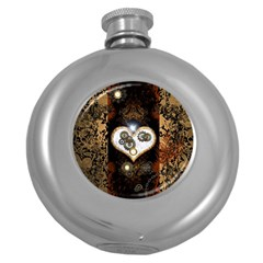 Steampunk, Awesome Heart With Clocks And Gears Round Hip Flask (5 Oz)