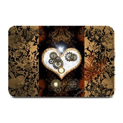 Steampunk, Awesome Heart With Clocks And Gears Plate Mats