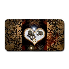 Steampunk, Awesome Heart With Clocks And Gears Medium Bar Mats