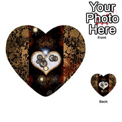 Steampunk, Awesome Heart With Clocks And Gears Multi-purpose Cards (Heart)