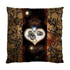 Steampunk, Awesome Heart With Clocks And Gears Standard Cushion Case (one Side)