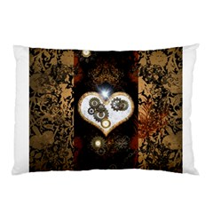 Steampunk, Awesome Heart With Clocks And Gears Pillow Cases