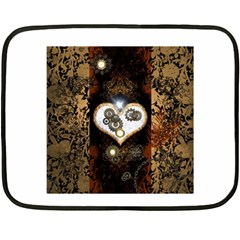 Steampunk, Awesome Heart With Clocks And Gears Fleece Blanket (mini)