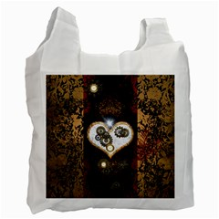 Steampunk, Awesome Heart With Clocks And Gears Recycle Bag (two Side)