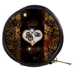 Steampunk, Awesome Heart With Clocks And Gears Mini Makeup Bags