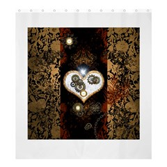 Steampunk, Awesome Heart With Clocks And Gears Shower Curtain 66  X 72  (large)