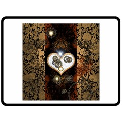 Steampunk, Awesome Heart With Clocks And Gears Fleece Blanket (Large)