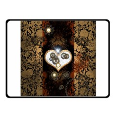 Steampunk, Awesome Heart With Clocks And Gears Fleece Blanket (Small)