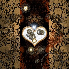 Steampunk, Awesome Heart With Clocks And Gears Magic Photo Cubes