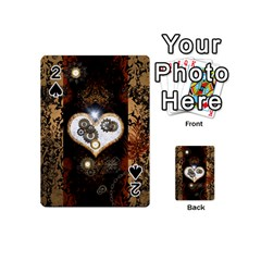 Steampunk, Awesome Heart With Clocks And Gears Playing Cards 54 (mini)