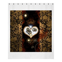Steampunk, Awesome Heart With Clocks And Gears Shower Curtain 60  x 72  (Medium)