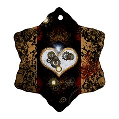 Steampunk, Awesome Heart With Clocks And Gears Ornament (Snowflake)