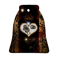 Steampunk, Awesome Heart With Clocks And Gears Ornament (bell)