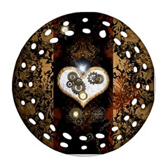 Steampunk, Awesome Heart With Clocks And Gears Round Filigree Ornament (2side)
