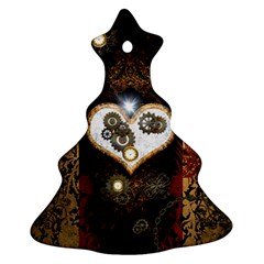 Steampunk, Awesome Heart With Clocks And Gears Christmas Tree Ornament (2 Sides)