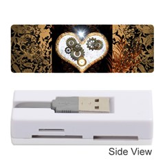Steampunk, Awesome Heart With Clocks And Gears Memory Card Reader (Stick)
