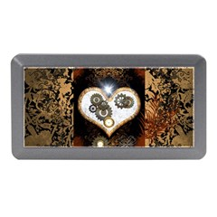 Steampunk, Awesome Heart With Clocks And Gears Memory Card Reader (Mini)