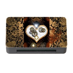 Steampunk, Awesome Heart With Clocks And Gears Memory Card Reader with CF