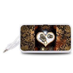 Steampunk, Awesome Heart With Clocks And Gears Portable Speaker (White)