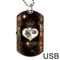 Steampunk, Awesome Heart With Clocks And Gears Dog Tag USB Flash (Two Sides)