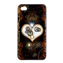 Steampunk, Awesome Heart With Clocks And Gears Apple iPhone 4/4s Seamless Case (Black)