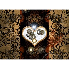 Steampunk, Awesome Heart With Clocks And Gears Birthday Cake 3d Greeting Card (7x5)