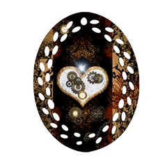 Steampunk, Awesome Heart With Clocks And Gears Oval Filigree Ornament (2-Side)