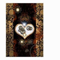 Steampunk, Awesome Heart With Clocks And Gears Small Garden Flag (Two Sides)