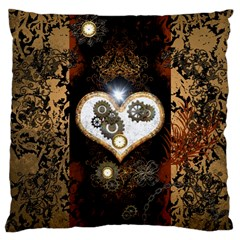 Steampunk, Awesome Heart With Clocks And Gears Large Cushion Cases (two Sides)
