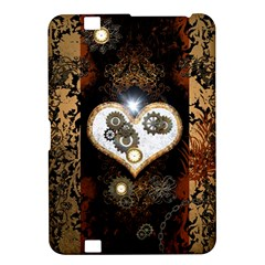 Steampunk, Awesome Heart With Clocks And Gears Kindle Fire Hd 8 9