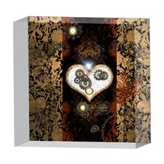 Steampunk, Awesome Heart With Clocks And Gears 5  x 5  Acrylic Photo Blocks