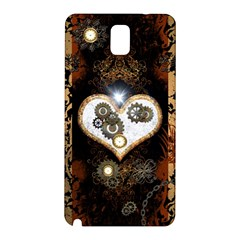 Steampunk, Awesome Heart With Clocks And Gears Samsung Galaxy Note 3 N9005 Hardshell Back Case
