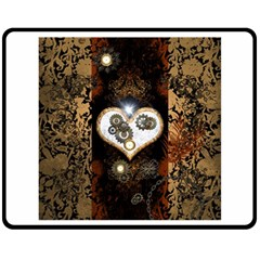 Steampunk, Awesome Heart With Clocks And Gears Double Sided Fleece Blanket (Medium)