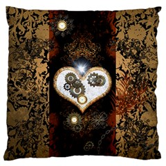 Steampunk, Awesome Heart With Clocks And Gears Large Flano Cushion Cases (one Side)