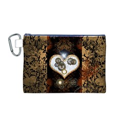 Steampunk, Awesome Heart With Clocks And Gears Canvas Cosmetic Bag (m)