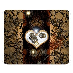Steampunk, Awesome Heart With Clocks And Gears Double Sided Flano Blanket (Medium)