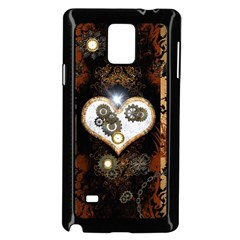 Steampunk, Awesome Heart With Clocks And Gears Samsung Galaxy Note 4 Case (Black)