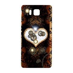 Steampunk, Awesome Heart With Clocks And Gears Samsung Galaxy Alpha Hardshell Back Case