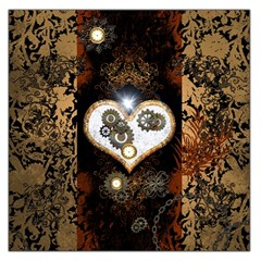 Steampunk, Awesome Heart With Clocks And Gears Large Satin Scarf (Square)