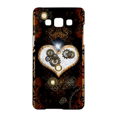 Steampunk, Awesome Heart With Clocks And Gears Samsung Galaxy A5 Hardshell Case
